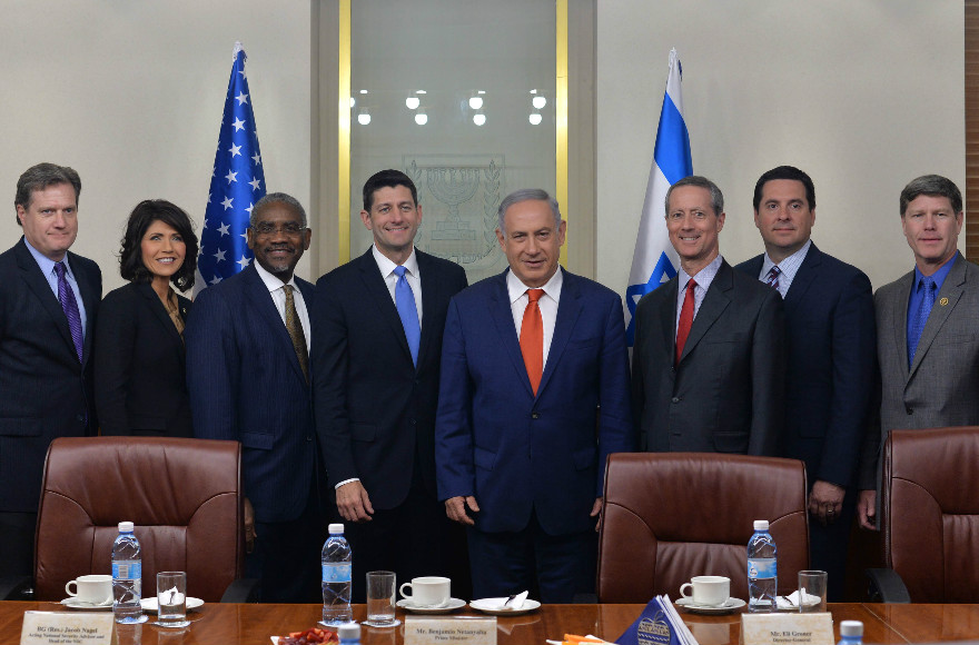 Israeli Prime Minister Benjamin Netanyahu meets on April 4, 2016 with a bipartisan US Congressional delegation led by House of Representatives Speaker Paul Ryan (R-Wis.). Photo/Kobi Gideon (GPO)