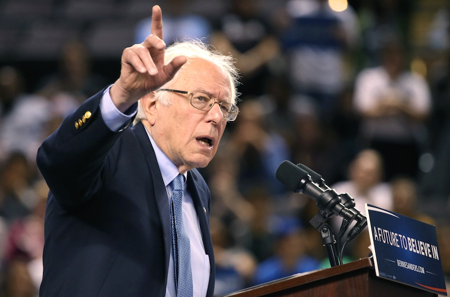 Bernie Sanders at a campaign event at the Royal Farms Arena in Baltimore, April 23, 2016. (Mark Wilson/Getty Images)