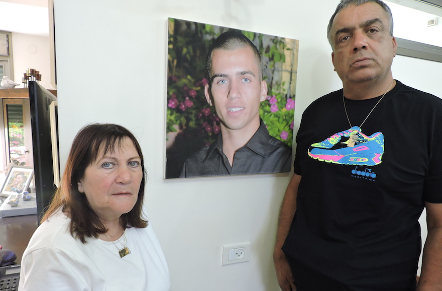 Herzl and Zehava Shaul have no definitive proof that their son died after he was captured by Hamas on July 20, 2014 in Gaza City. (Ben Sales)