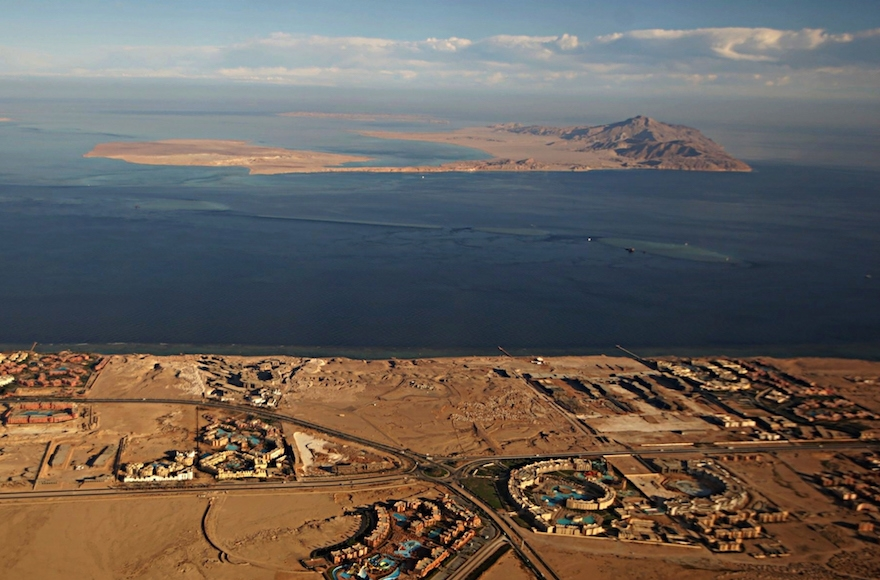 The Red Sea islands of Tiran, in the foreground, and Sanafir, in the background, sit at the the Strait of Tiran between Egypt's Sinai Peninsula and Saudi Arabia. (Stringer/AFP/Getty Images)