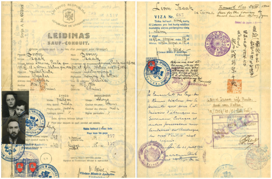 The endorsements of Chiune Sugihara – the Japanese Consul in Kovno, Lithuania – and the Dutch Consul in Kovno, Jan Zwartendijk, appear on  a Ledimas, or travel document, that allowed Isaak Lewin and his family to escape Lithuania in 1940. Washington attorney Nathan Lewin is the three-year-old boy in the arms of his mother, Peppy Sternheim Lewin. (Photo courtesy of Alyza D. Lewin)