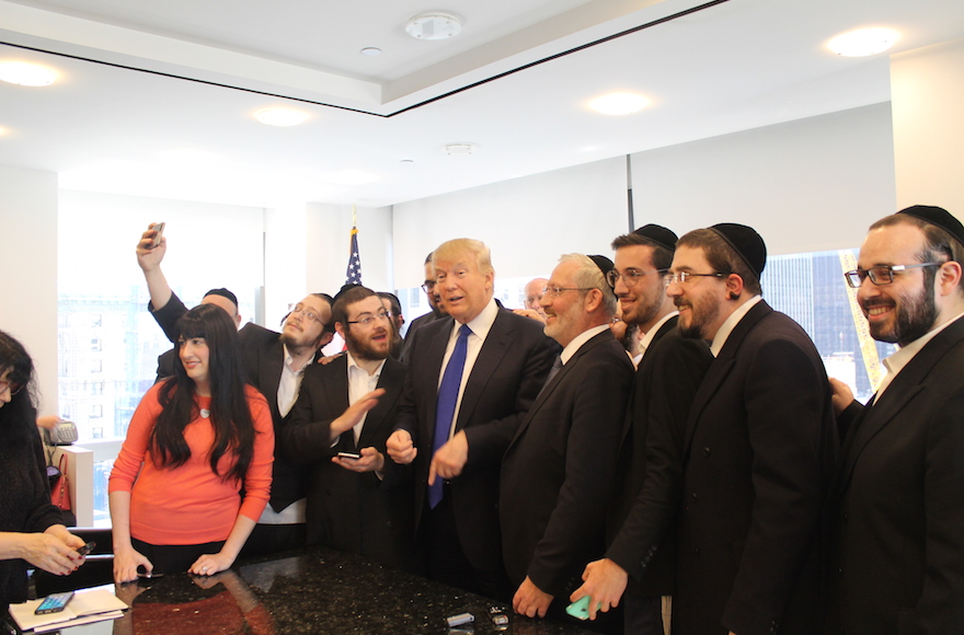Donald Trump held a 20-minute question-and-answer session with Jewish reporters at his offices at Trump Tower, April 14, 2016. (Uriel Heilman)