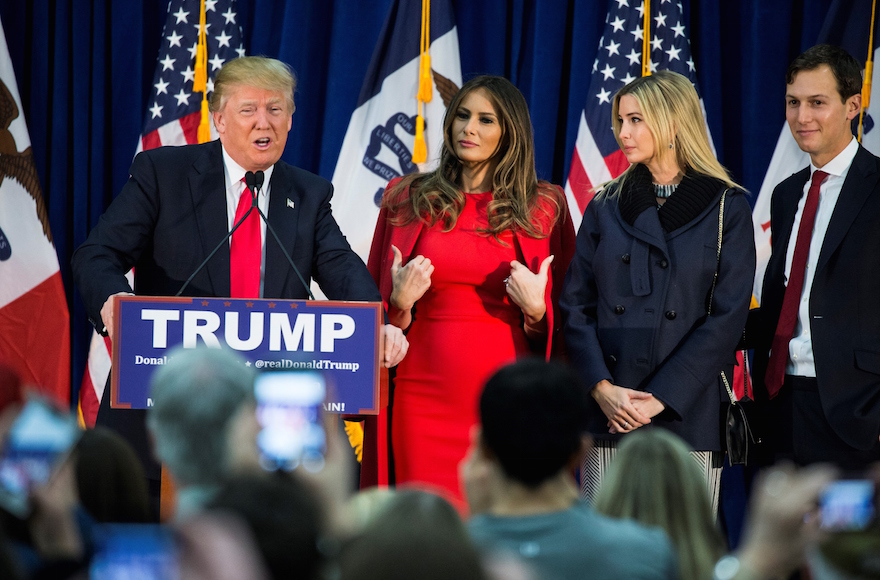 Donald Trump speaking during a campaign rally with, from left to right, his wife Melania Trump, Ivanka Trump and her husband, Jared Kushner, in Waterloo, Iowa, Feb. 1, 2016. (Samuel Corum/Anadolu Agency/Getty Images)