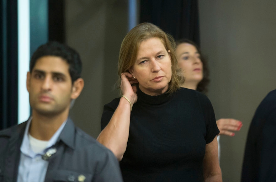 Tzipi Livni arriving for the weekly Cabinet meeting in Jerusalem, July 21, 2013. (Uriel Sinai/Getty Images)
