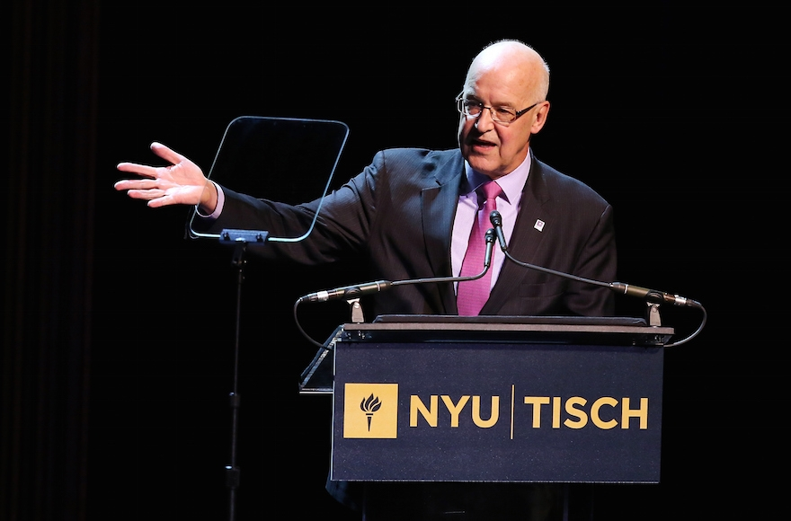 NYU President Andrew Hamilton speaking at the NYU Tisch School of the Arts 50th Anniversary Gala in New York City, April 4, 2016. (J. Countess/Getty Images)
