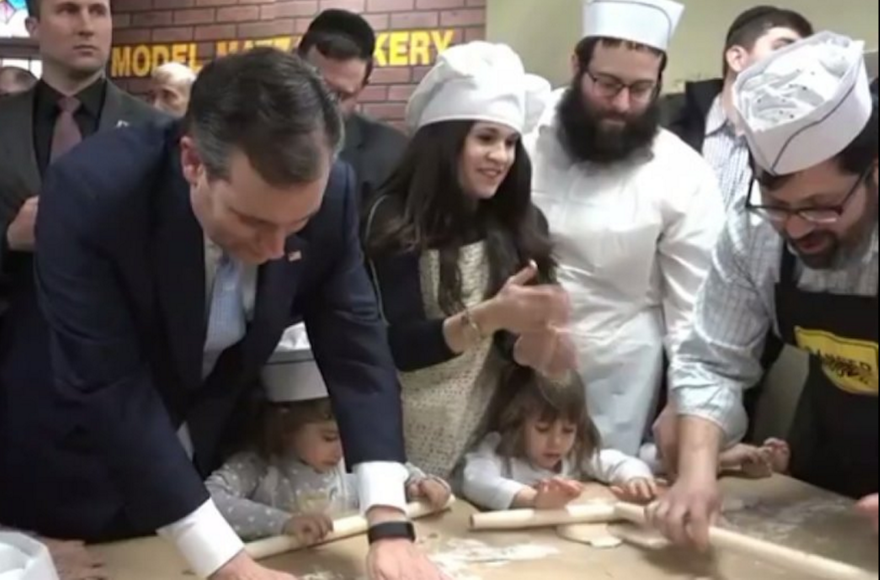 Ted Cruz, left, at a matzah factory in Brighton Beach, Brooklyn, April 7, 2016. (Screenshot from Twitter)