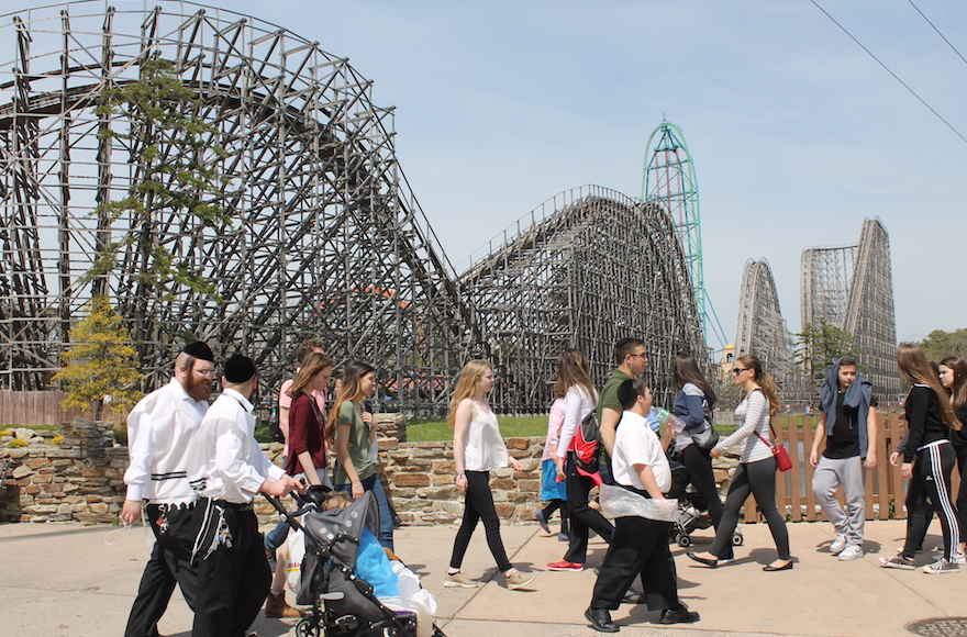 Six Flags Great Adventure, an amusement park in New Jersey, on Passover becomes the site of an annual Orthodox Jewish pilgrimage. (Uriel Heilman)
