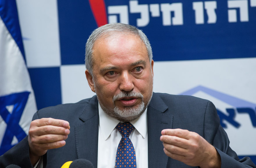 Leader of the Yisrael Beyteinu political party Avigdor Liberman leading a press conference at the Knesset, May 18, 2016. (Yonatan Sindel/Flash90)