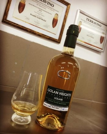 "Aged for one year, the ""Golani Whiskey"" from Golan Heights Distillery wouldn't be considered whiskey under Scottish regulations. (Courtesy of the Golan Heights Distillery)"