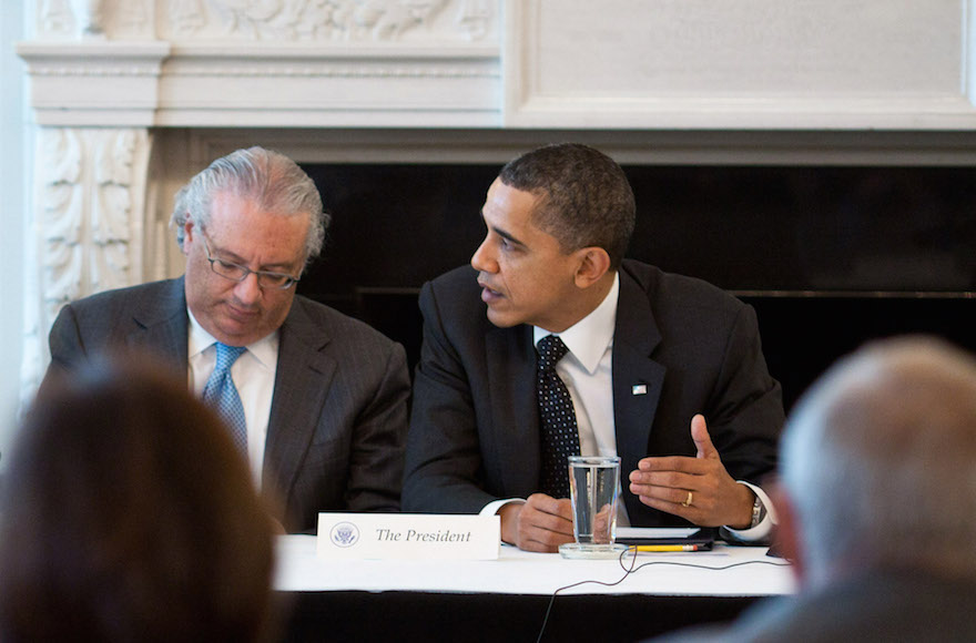President Barack Obama seated next to Alan Solow at the White House, March 1, 2011. (Pete Souza/White House)