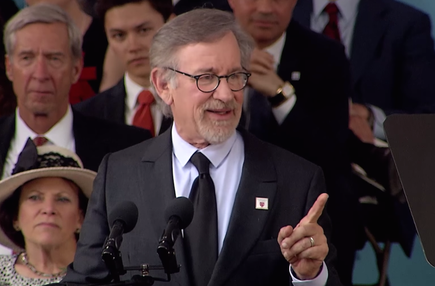 Steven Spielberg speaking at the Harvard University commencement ceremony, May 26, 2016. (Screenshot from YouTube)