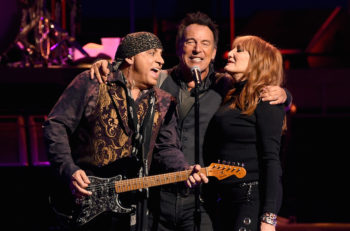 Steven Van Zandt, left, Bruce Springsteen and Patti Scialfa of Bruce Springsteen and the E Street Band performing at the Los Angeles Sports Arena in Los Angeles, California, March 15, 2015. (Kevin Winter/Getty Images)