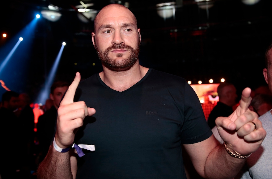 Tyson Fury before the Heavyweight European Championship at Barclaycard Arena in Hamburg, Germany, May 7, 2016. (Oliver Hardt/Bongarts/Getty Images)