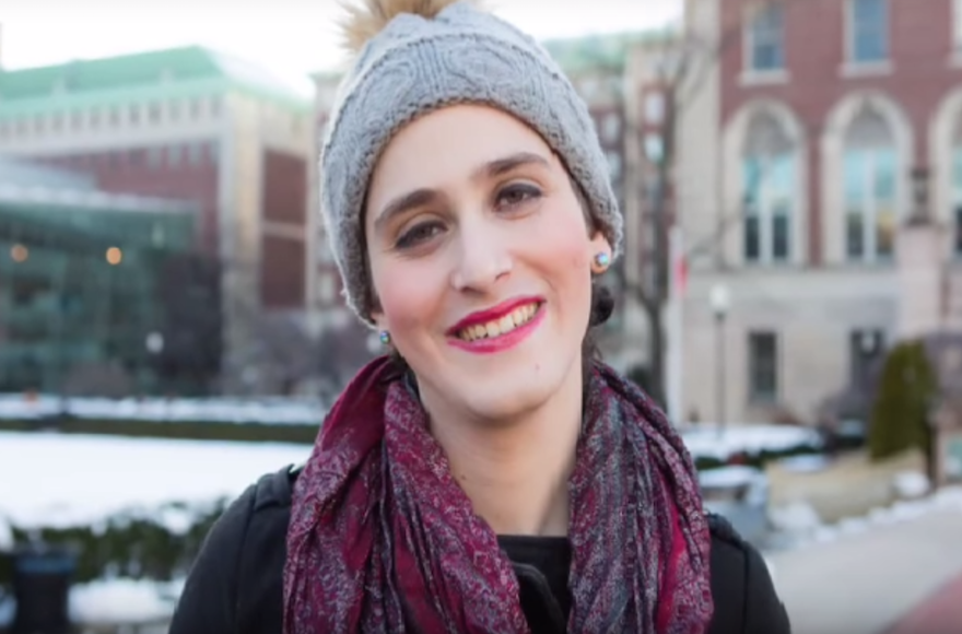 Abby Stein, after leaving the Hasidic community. (Screenshot from YouTube)
