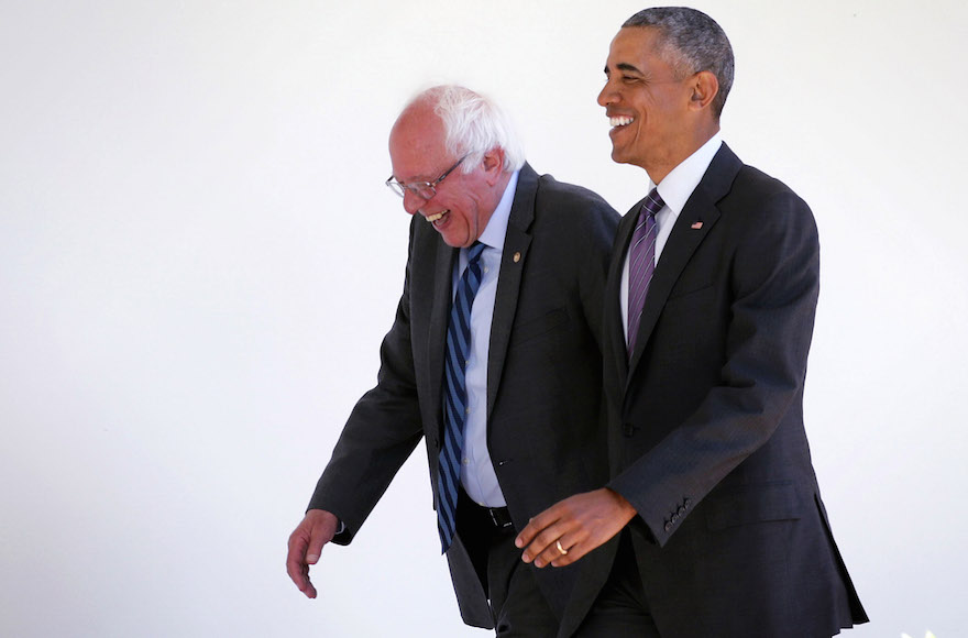 Sen. Bernie Sanders, D-Vt., walking with President Barack Obama through the Colonnade as he arrives at the White House for an Oval Office meeting in Washington, D.C., June 9, 2016. (Alex Wong/Getty Images)