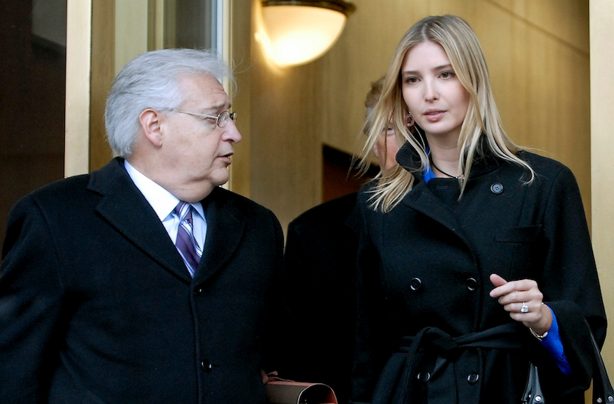 Attorney David Friedman, left, exiting the Federal Building with Donald Trump and Ivanka Trump. right, following their appearance in U.S. Bankruptcy Court in Camden, New Jersey, Feb. 25, 2010. (Bradley C Bower/Bloomberg News)