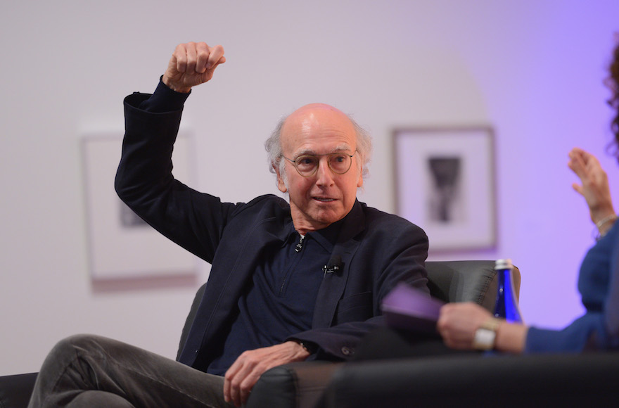 Larry David speaking on stage at the VIP closing dinner during Advertising Week AWXII at Sotheby's in New York City, Oct. 1, 2015. (Andrew Toth/Getty Images for AWXII)