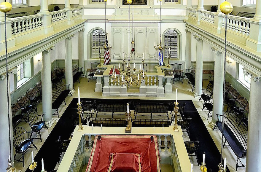 A view inside the Touro Synagogue in Newport, Rhode Island. (Wikimedia Commons)