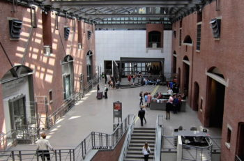 A view of the interior of the United States Holocaust Memorial Museum, located south of the National Mall in Washington, D.C. in 2010. (Wikimedia Commons)
