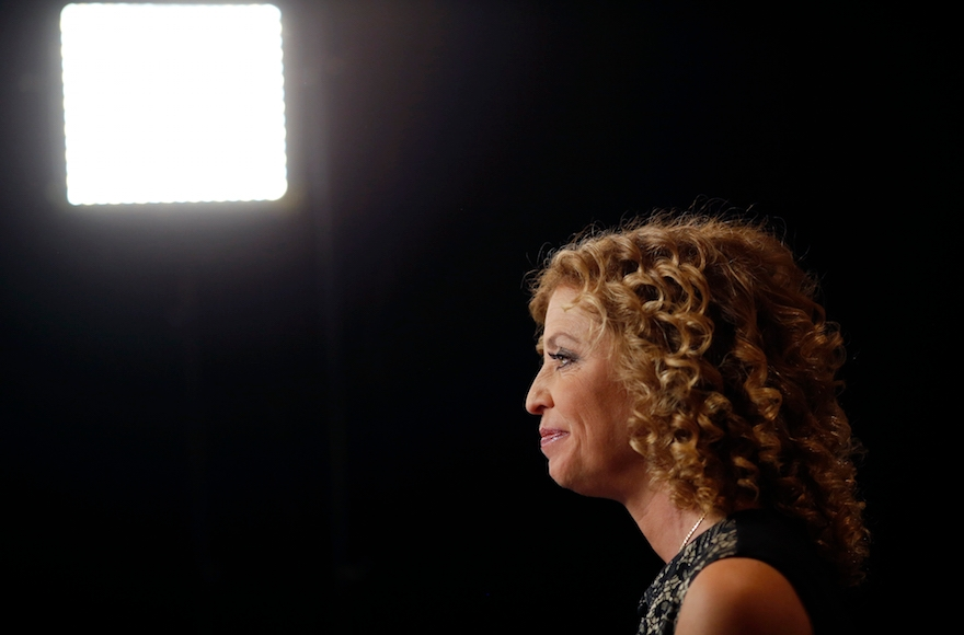 Debbie Wasserman Schultz sitting for an interview in the spin room inside the Wynn Resorts Ltd. Las Vegas resort and casino before the first Democratic presidential debate in Las Vegas, Oct. 13, 2015. (Luke Sharrett/Bloomberg via Getty Images)