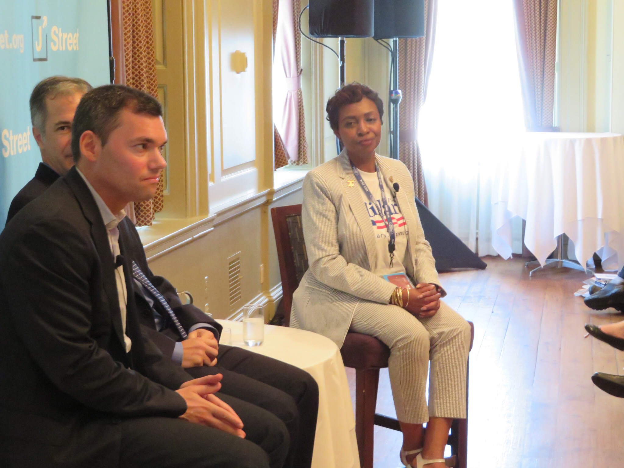 Rep. Yvette Clarke, D-N.Y., speaks Tuesday July 26 at a J Street panel near the Democratic National Convention. At left is Peter Beinart.