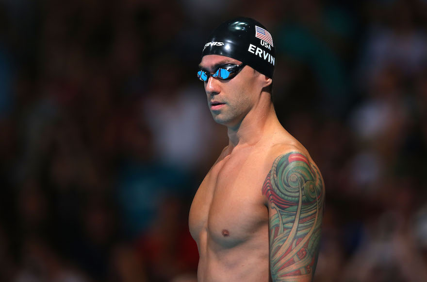 Anthony Ervin preparing to compete in the men's 50 meter freestyle 50m semifinal at the FINA World Championships at Palau Sant Jordi in Barcelona, Spain, Aug. 2, 2013. (Clive Rose/Getty Images)