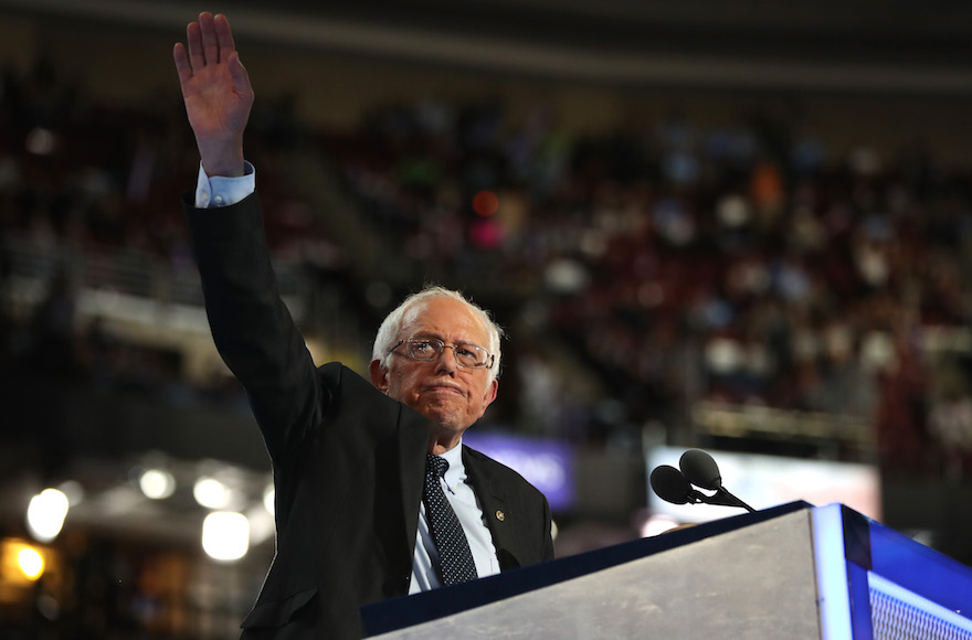 Bernie Sanders speaking on the first day of the Democratic National Convention at the Wells Fargo Center in Philadelphia, July 25, 2016. (Joe Raedle/Getty Images)