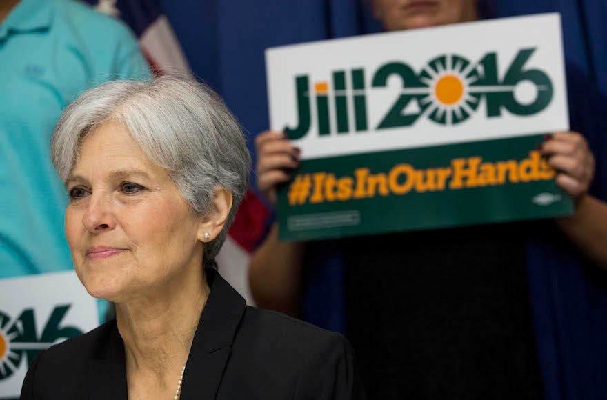 Jill Stein announcing that she will seek the Green Party's presidential nomination, at the National Press Club in Washington, D.C, June 23, 2015. (Drew Angerer/Getty Images)