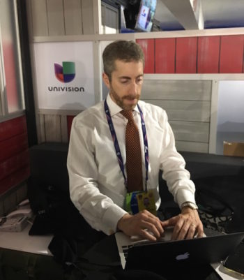 Joel Pollak of Breitbart News working at the Republican National Convention. (Ron Kampeas)