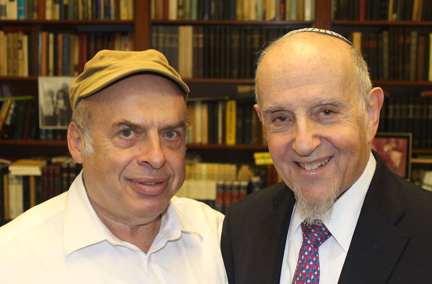 After Israel's Chief Rabbinate rejected a conversion performed by prominent modern Orthodox Rabbi Haskel Lookstein (right), Jewish Agency for Israel Chairman Natan Sharansky (left) protested on his behalf. (Ben Sales)