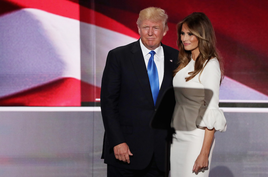 Donald Trump standing with his wife Melania after she delivered a speech on the first day of the Republican National Convention, July 18, 2016. (Photo by Alex Wong/Getty Images)
