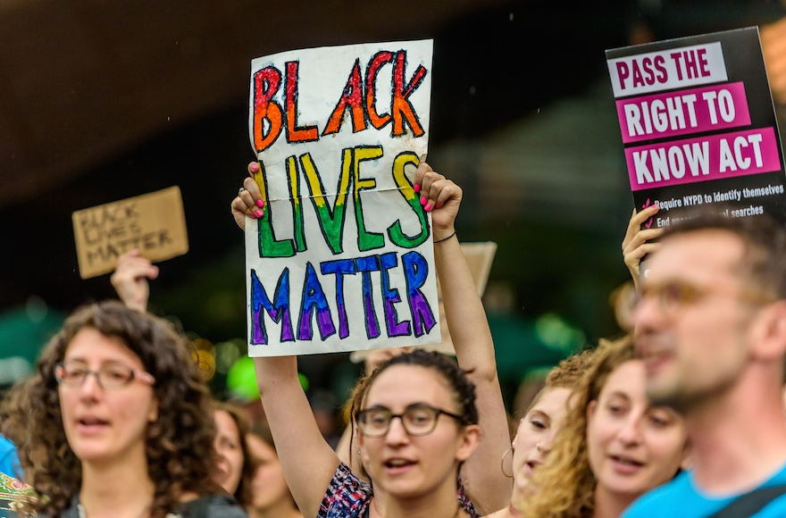 The Jewish community in New York holding a rally for the Black Lives Matter movement outside the Barclays Center in Brooklyn, July 28, 2016. (Erik McGregor/Pacific Press/LightRocket via Getty Images)