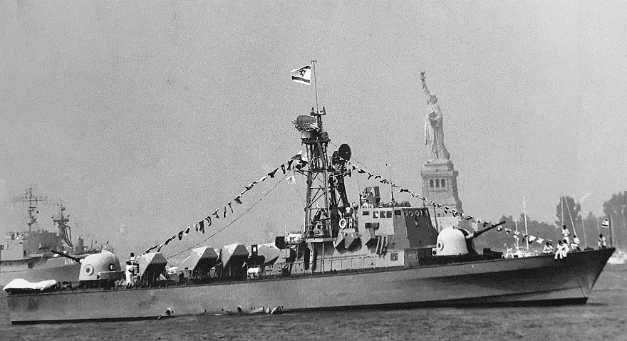 One of the two Israeli missile boats from Operation Sail in 1976 passing the Statue of Liberty. (Courtesy of Hadar Shalev)