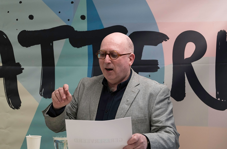 Michel Waterman, director of the Crescas Dutch Jewish cultural group, during a debate at the Crescas offices in Amsterdam on April 5, 2016. (Photo Courtesy of Crescas)