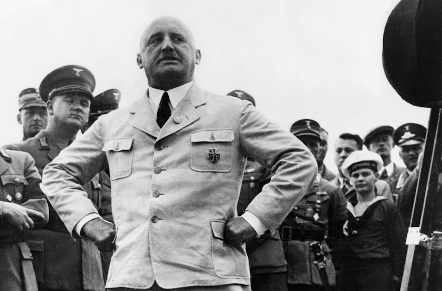 Julius Streicher striking a pose in Berlin, Aug. 15, 1935. (Getty Images)
