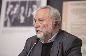 Josef Zissels attending a conference on minorities in Ukraine at the University of Cologne in 2014. (Courtesy of Vaad)
