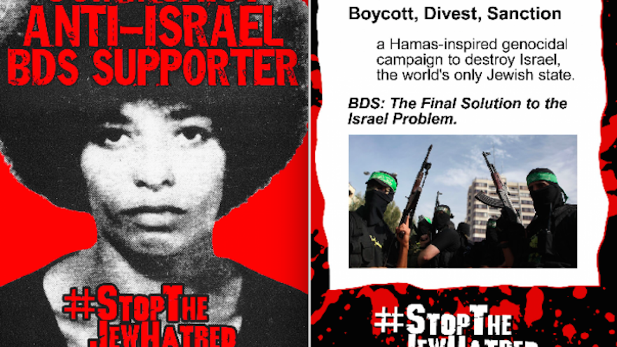 A poster placed on campuses by the David Horowitz Freedom Center beginning in February features an image of '60s-era radical Angela Davis and messages condemning the boycott movement against Israel. (David Horowitz Freedom Center)