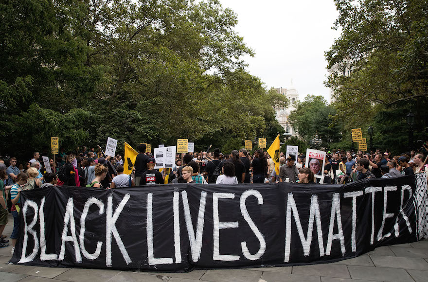 Black Lives Matter protestors at City Hall Park in New York City, Aug. 1, 2016. (Drew Angerer/Getty Images)