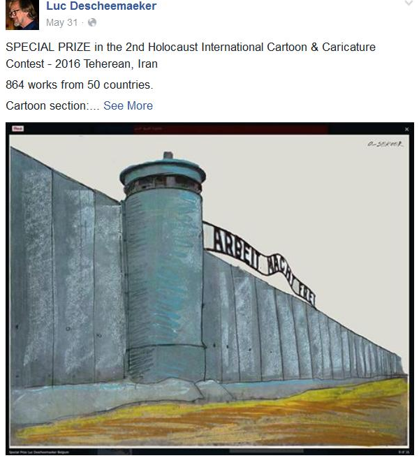 Belgian cartoonist Luc Descheemaeker shared news of his prize at the Iranian Holocaust cartoon contest in May on his Facebook page. (Facebook)