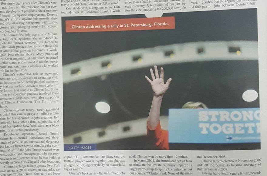 Monsey-based newspaper Yated Ne'eman published a picture of the Democratic presidential nominee taken at a Florida campaign rally. (Onlysimchas.org)