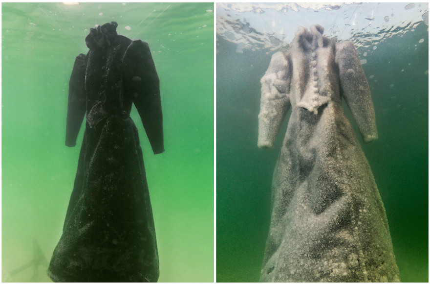 Dead Sea turns black dress into 'salt bride'