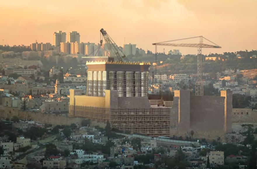A  video supporting the Temple Institute's Indiegogo fundraising appeal features a simulation of a rebuilt Holy Temple on the site of the current Temple Mount in Jerusalem.