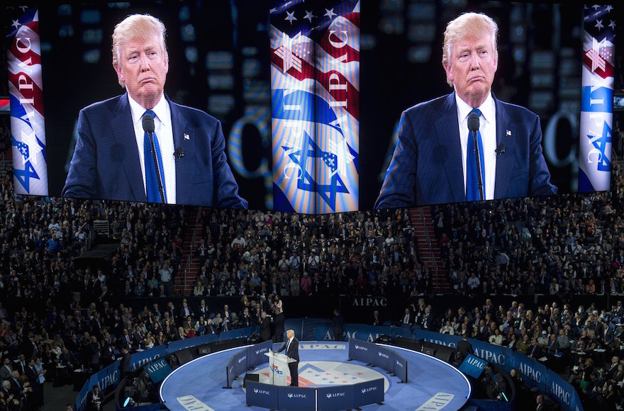 Donald Trump speaking at the American Israel Public Affairs Committee 2016 Policy Conference at the Verizon Center in Washington, DC, March 21, 2016. (Saul Loeb/AFP/Getty Images)