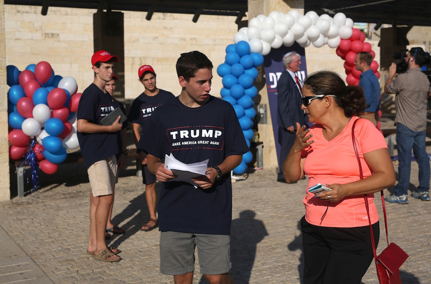 A youth wears a Donald Trump shirt at an Israeli branch of the Republican party in Modiin, Aug. 15, 2016. (Menahem Kahana/AFP/Getty Images)