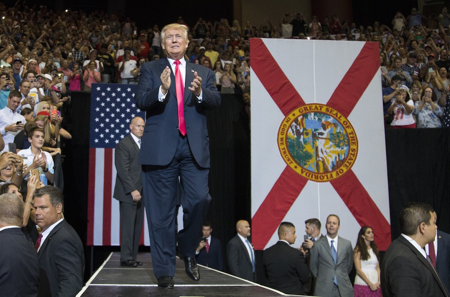 Donald Trump at a rally at Jacksonville Veterans Memorial Arena in Jacksonville, Florida, Aug. 3, 2016. (Mark Wallheiser/Getty Images)