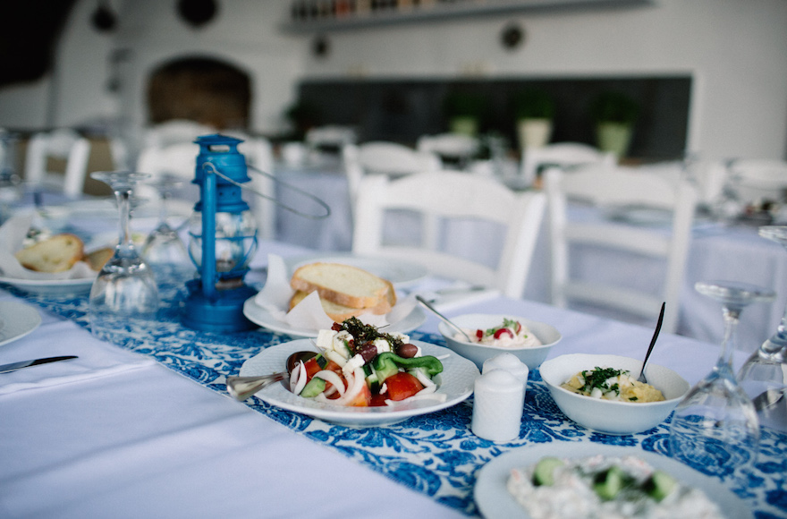 A spread of Greek food at an Israeli wedding in Tinos, Greece, June 23, 2016. (We Are Red)