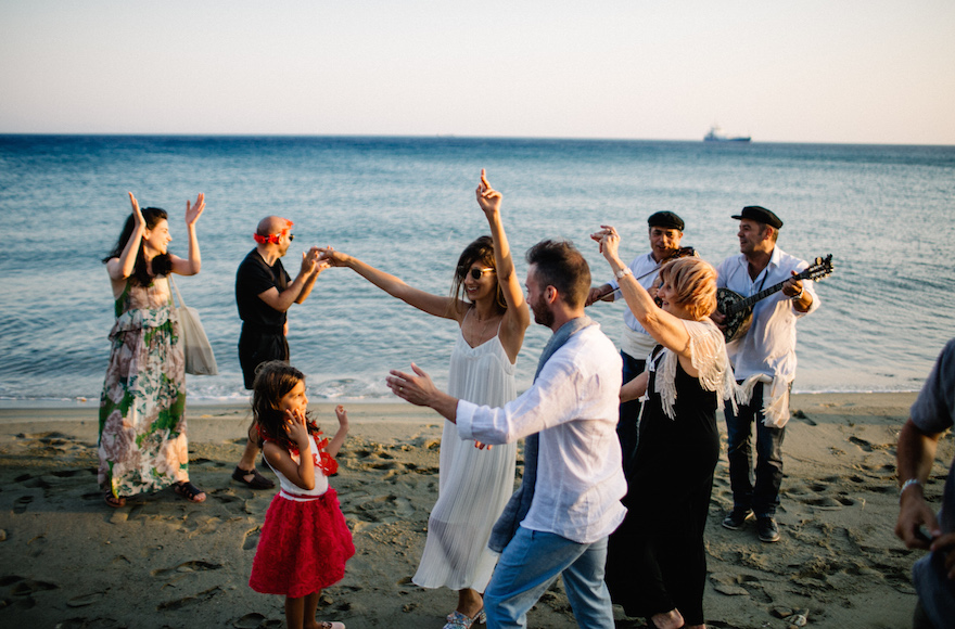 Israelis celebrating a wedding in Tikos, Greece, June 23, 2016. (We Are Red)