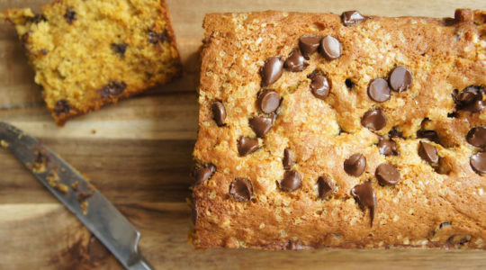 Pumpkin banana chocolate chip bread