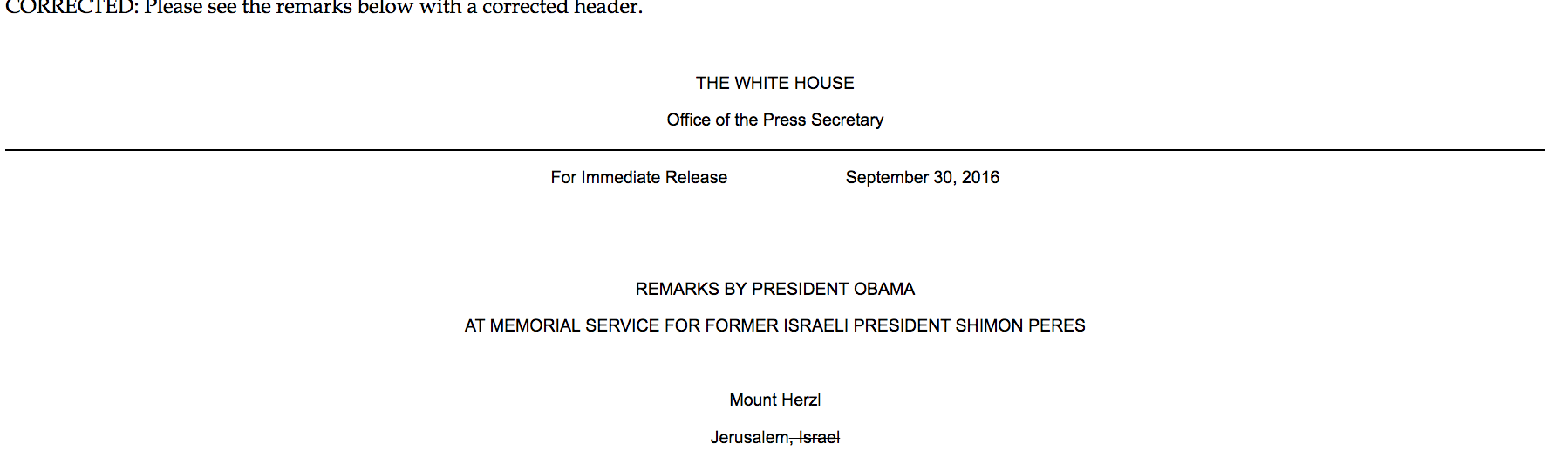 "A White House email strikes ""Israel"" from a Jerusalem dateline on Sept. 30 2016 (Screenshot)"