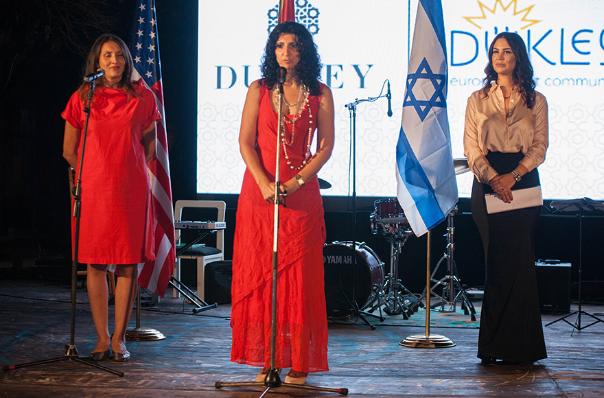 Shirley Siegel, center, at the opening of an exhibition of Israeli art in the city of Kotor in Montenegro on Sept. 15, 2016. (Photo: Dukley European Arts Community)